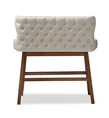 Beige Tufted 2-Seater Bar Bench