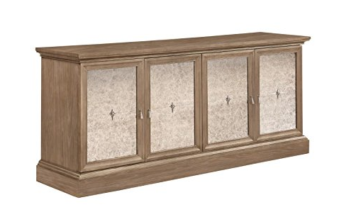 Barley Brown Credenza w/ Mirrored Glass Doors
