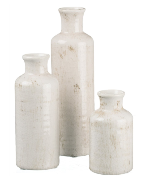 Distressed Ceramic Vases (set of 3)