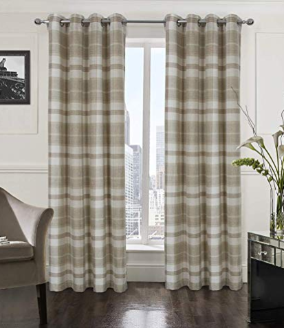 Beige Plaid Curtains