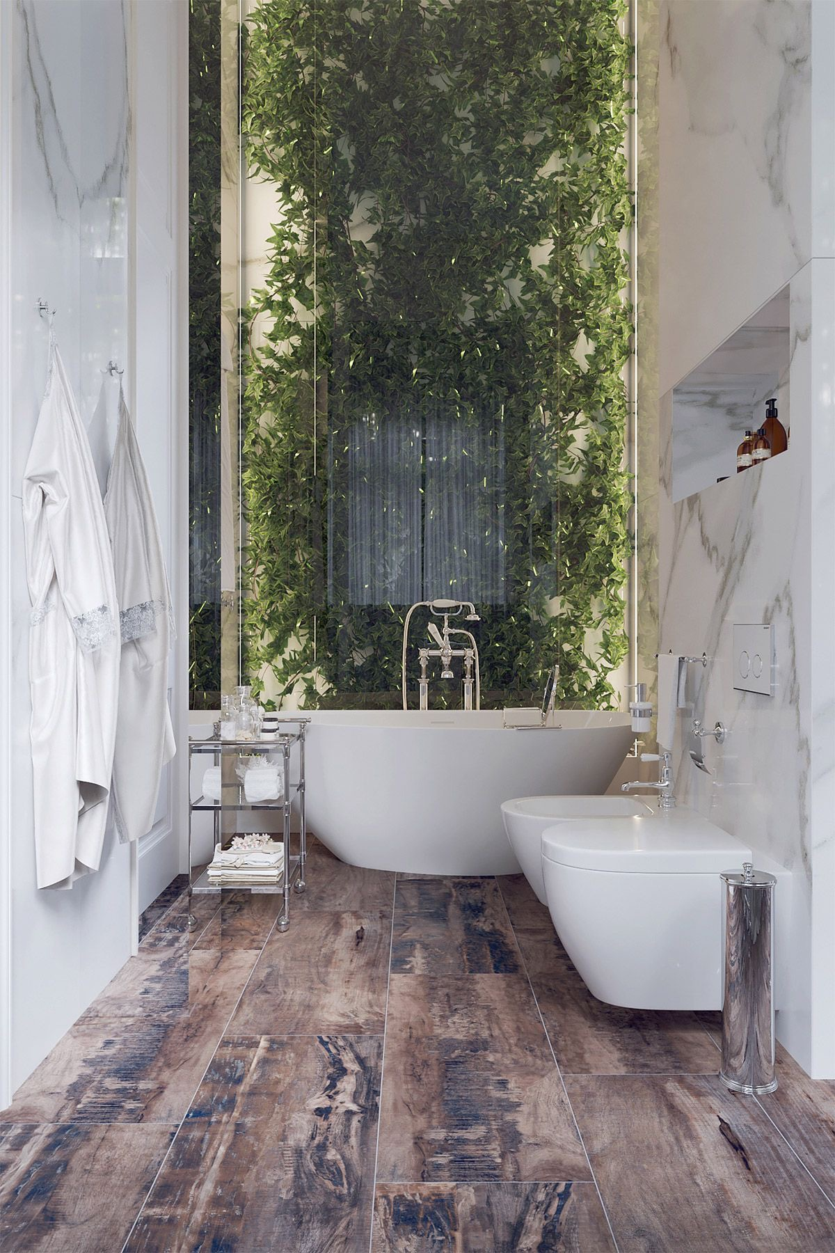 This bathroom oozes tranquility - the view, the finishes, the monochromatic & natural aesthetic… BUT, even if this isn't yours to call your own, there's hope…    Courtesy of Pinterest