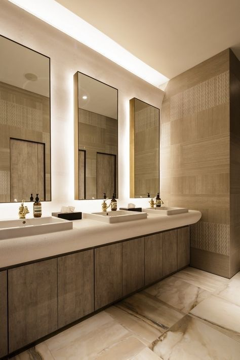 It's especially important to enhance tranquility in office bathrooms, as stress levels tend to spike in the workplace.    Courtesy of Pinterest