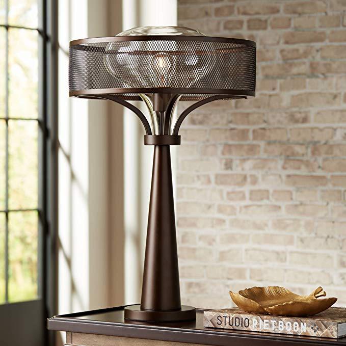 Brushed Bronze Mesh Drum Table Lamp