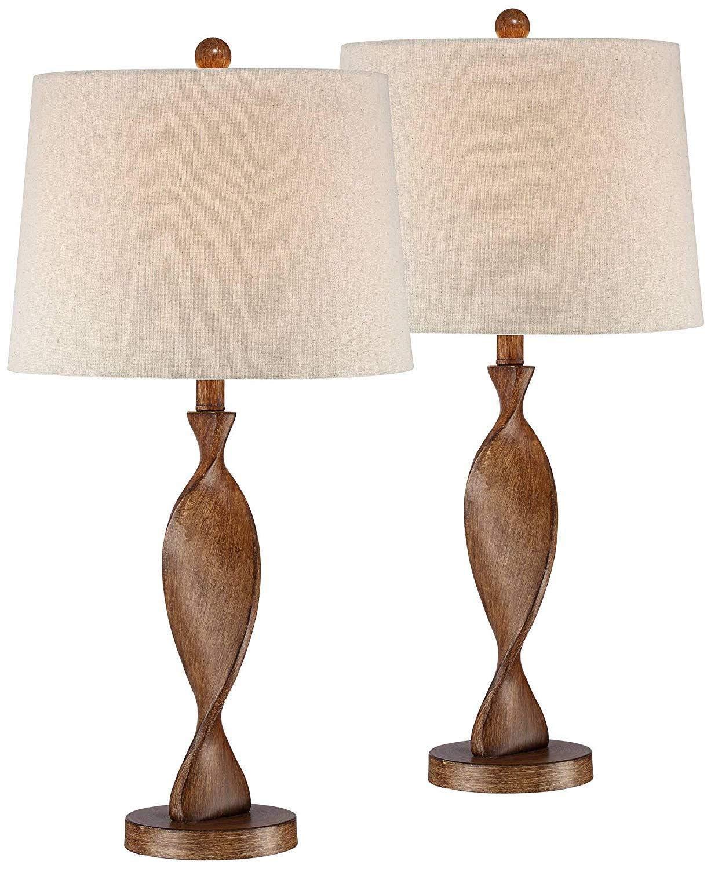 Brown Wood Twist Off Lamps