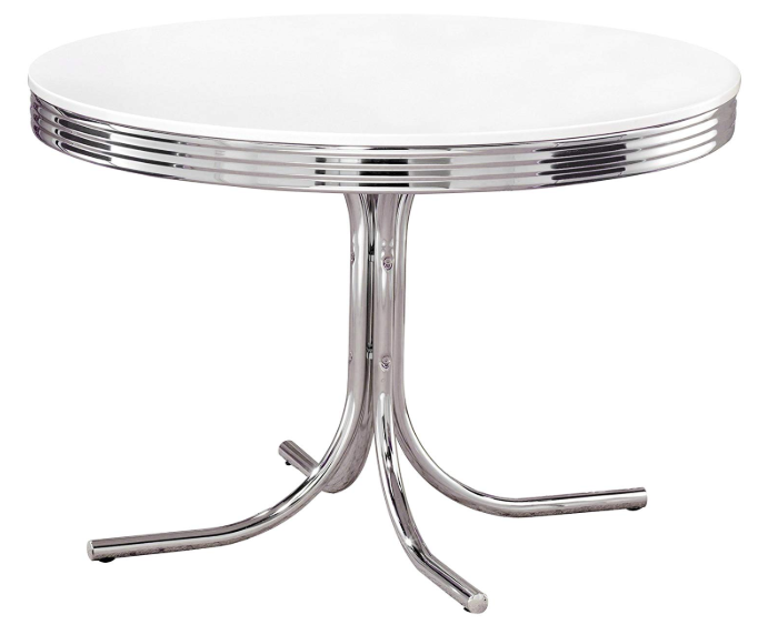 White & Chrome Bistro Table