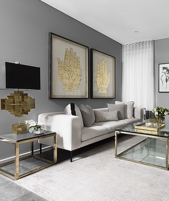 The ratio of chrome to gold is about even here… Whites, light beiges and black act as the connective layers between them.   (Courtesy of Pinterest)