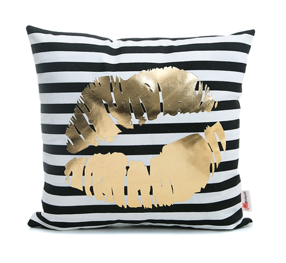 Lips Love Striped Throw Pillow Cover