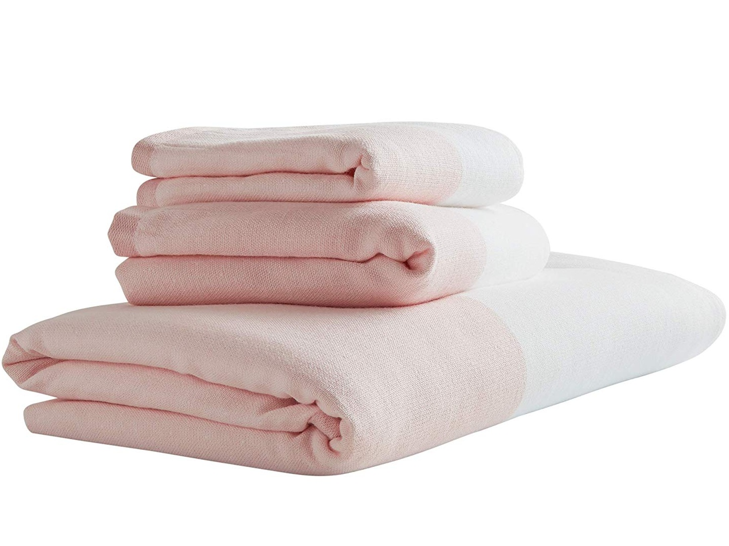 Pink & White Striped Cotton Towel Set