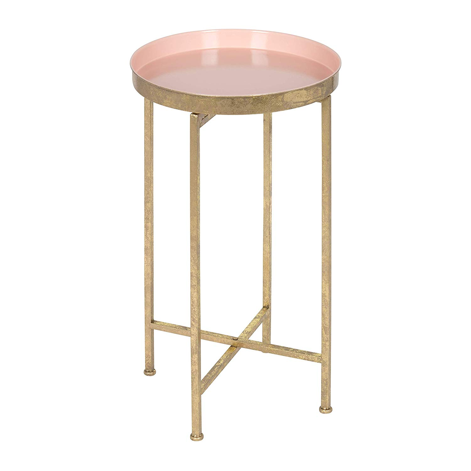 Foldable Pink & Gold Side Table