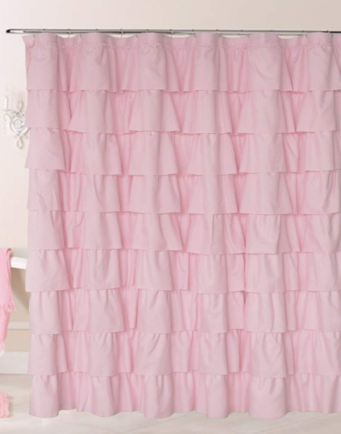 Ruffle Pink Shower Curtain