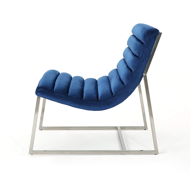 Modern Navy Blue Velvet Chair