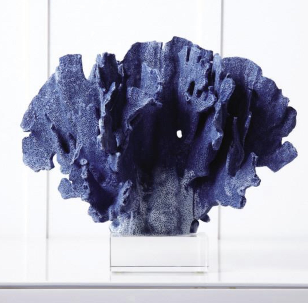 Blue Coral Sculpture on Glass