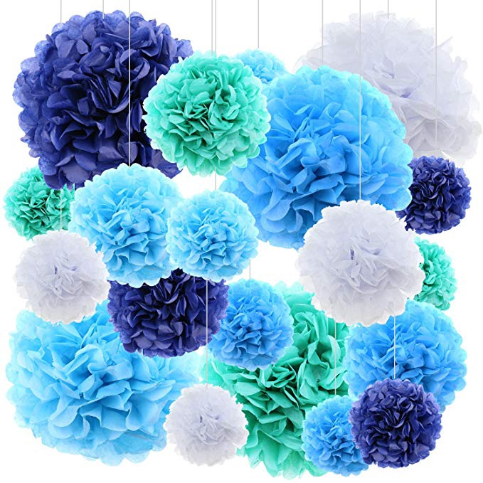 Blue Paper Pom Pom Flowers