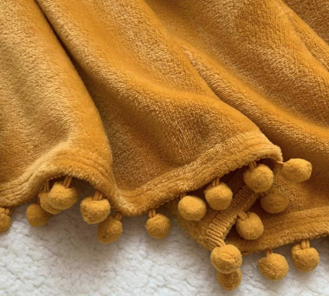 Mustard Yellow Pompom Throw