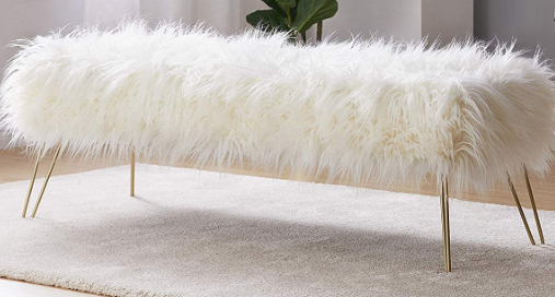 Faux Fur Bench w/ Brass Legs