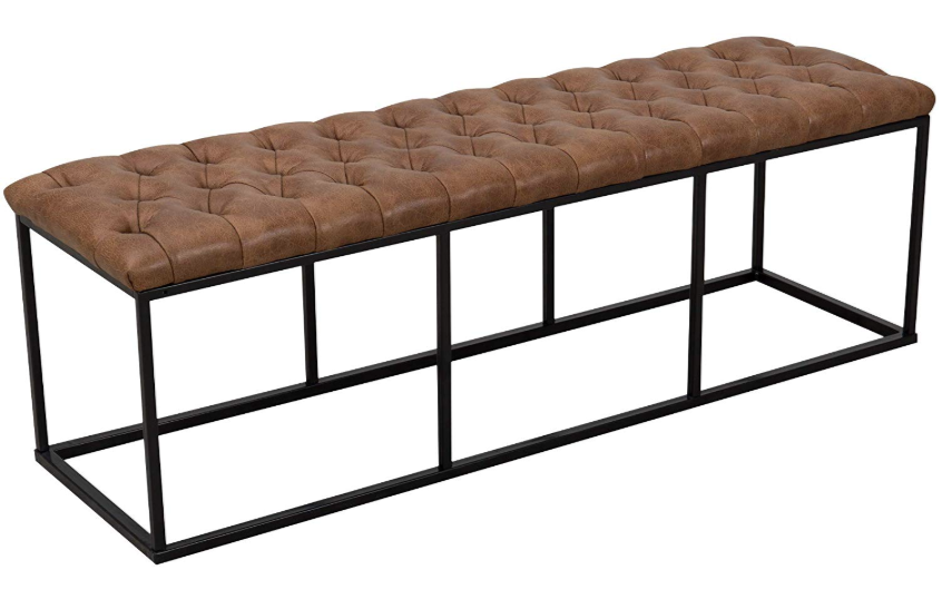 Faux Leather Button Tufted Bench