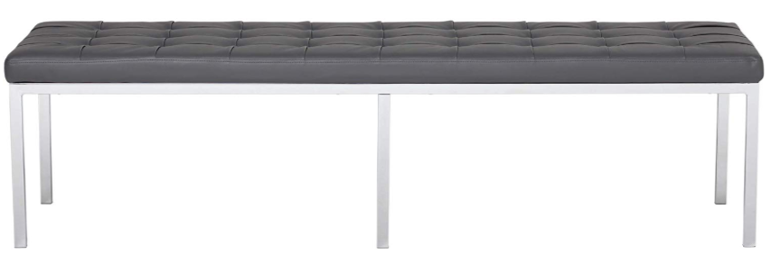 Smoke Grey Bonded Leather Bench