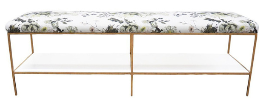 Floral Antique Gold Bench