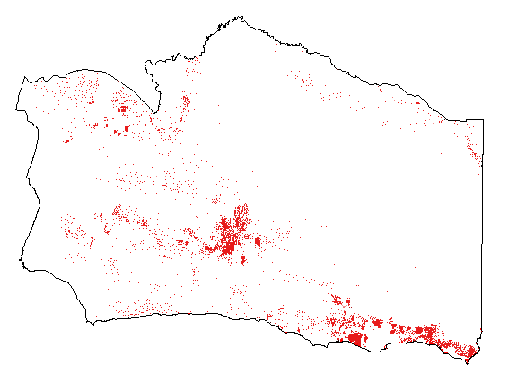 Close up of Santa Barbara County in total highlighting the Santa Ynez area.