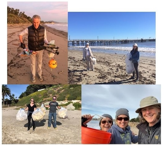 Top row: Michael Hurley on Summerland Beach; Lily Issaris & Chloe Zamp at Goleta Beach Middle row:Rachael Randall and Forest, at East Beach; Claire Yusingco & friends at Goleta Beach; Bottom row: Maire Radis and family/friends tackle Loon Point