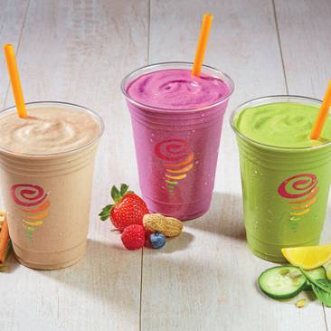 Jamba Juice smoothies in compostable plastic cups.