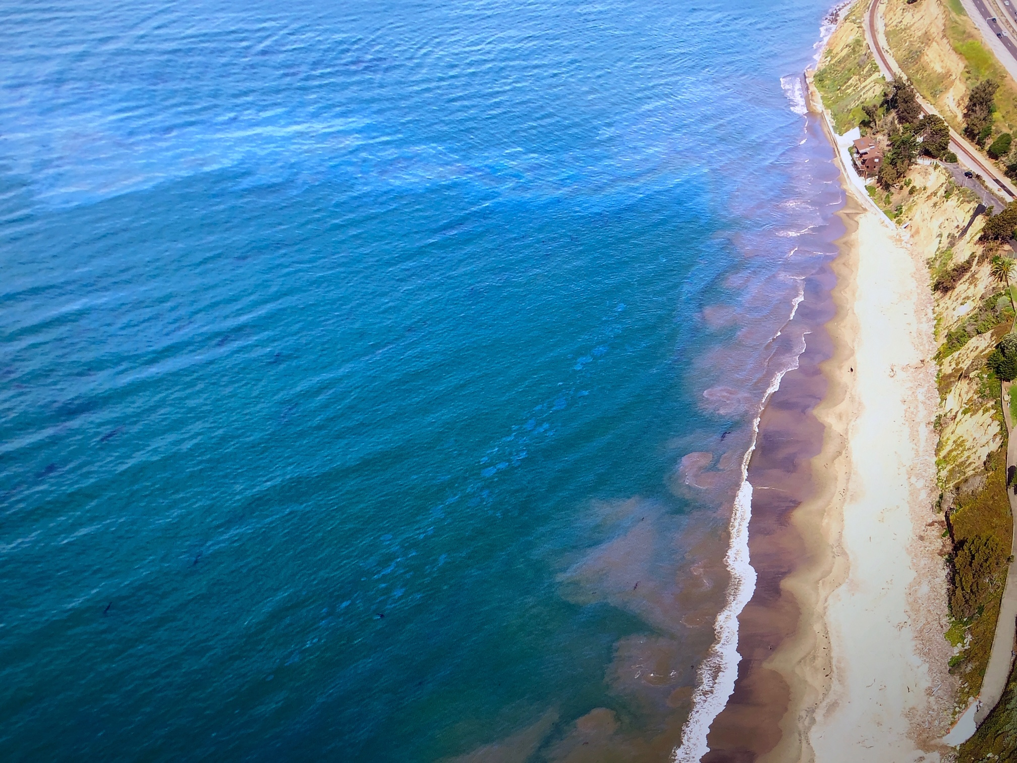 Oil leaks as of May 1, 2019 off Summerland Beach (All photos by Harry Rabin)