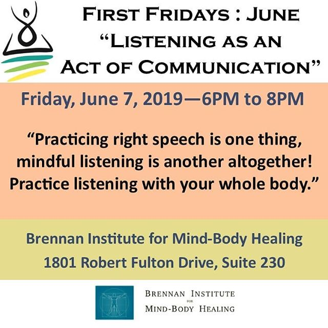 """There is a difference between listening and waiting for your turn to speak."" -- Simon Sinek  For many of us, the idea of ""communication"" is synonymous with speaking. For some who practice this more rigorously, body language, as well as the projection of other non-verbal cues, come into play as a component of our message. This is only one side of the communication equation, however, and all is for nothing if we don't study the art of listening. At First Fridays - June, we'll discuss the art of active listening, talk about the importance of establishing ground rules for productive discussion, learn about ways to incorporate a mindful approach to difficult or challenging conversations, and even get a little practice in mindful listening. This also includes how to apply these concepts to the act of listening to yourself. . . . #reston #meditation #mindfulness #listening #activelistening #communication  #presence"