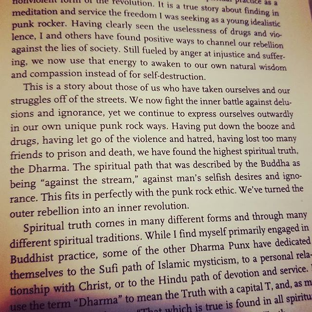 "Awesome paragraph from @noahlevine108 book ""Dharma Punx."" I've talked a lot in meditation groups before about how adopting the lifestyle and what it entails really is ""against the stream."" If you're going to make it happen, you're gonna have to take the plunge and make some changes that people are going to notice, possibly comment on, and maybe even question you on. Have the courage and take the plunge to lead with your heart, do the work on yourself, find your practice and get on with it. . . . #meditation #mindfulness #dharma #againstthestream #practiceyourpractice"