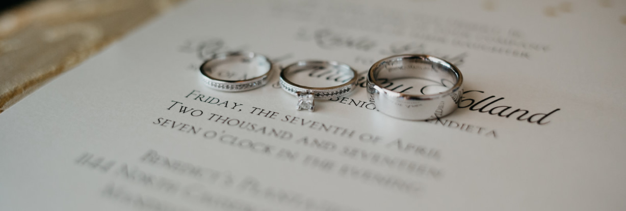 Weddings are very special moments that tie families together. Just like these rings symbolize so much in marriage, so does the event. What a great time to showcase your family's style and pzazz for life. (Picture by: Jordan Blanchard Photography)