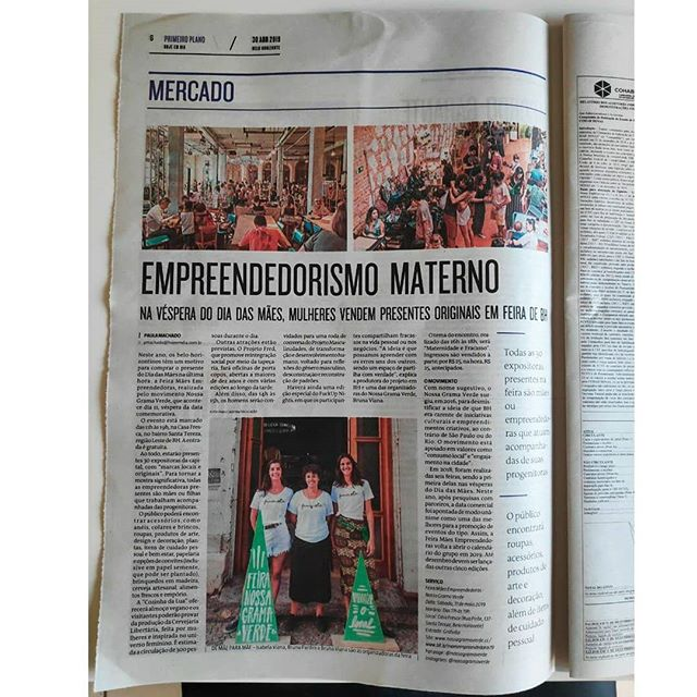 A Feira de Mães Empreendedoras foi destaque na sessão Mercado do jornal @jornalhojeemdia! A gente adorou a página e a matéria da Paula Tuanni. Bora espalhar ainda mais essa notícia? Marca aqui quem você quer convidar pra ir à Feira!  _ Feira Nossa Grama Verde: Mães Empreendedoras Sábado, 11 de maio 11h às 19h Casa Fresca (rua Pirité, 137, Santa Tereza)  #nossagramaverde #diadasmaes #feiradiadasmaes #compredequemfaz #maesempreendedoras