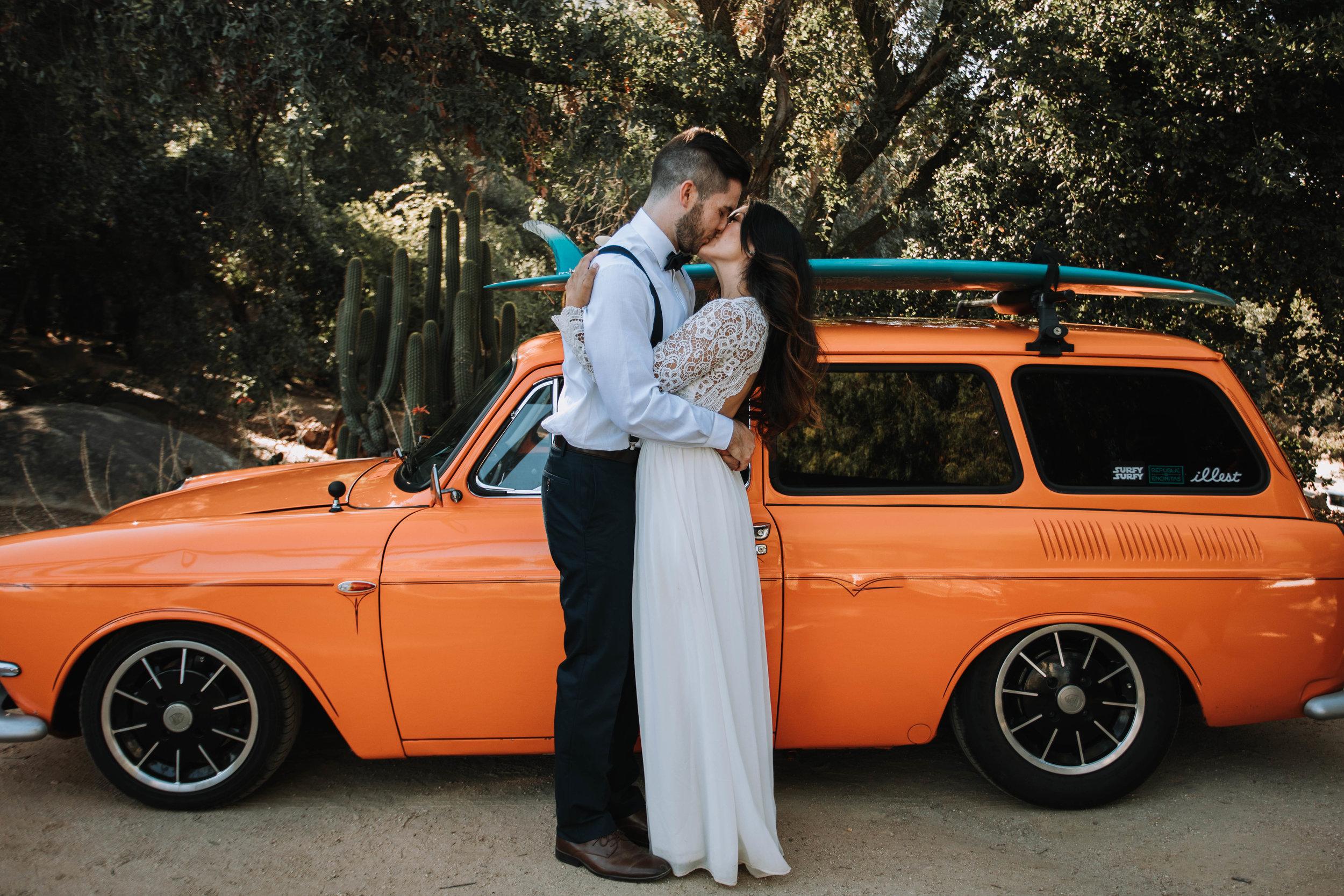 Ryan and Christina Wedding Orange Vintage Car Bridals
