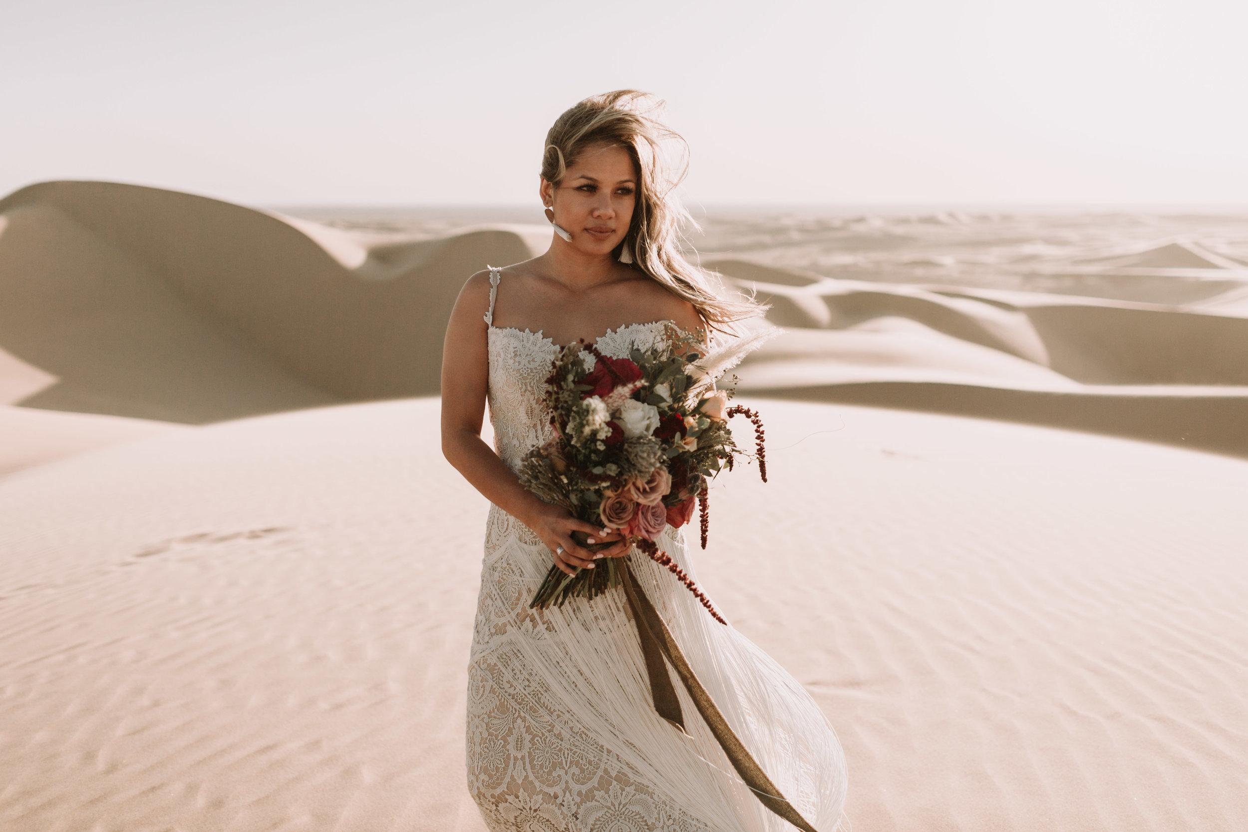 imperial sand dunes destination styled elopement bridal portrait with foraged fete florals