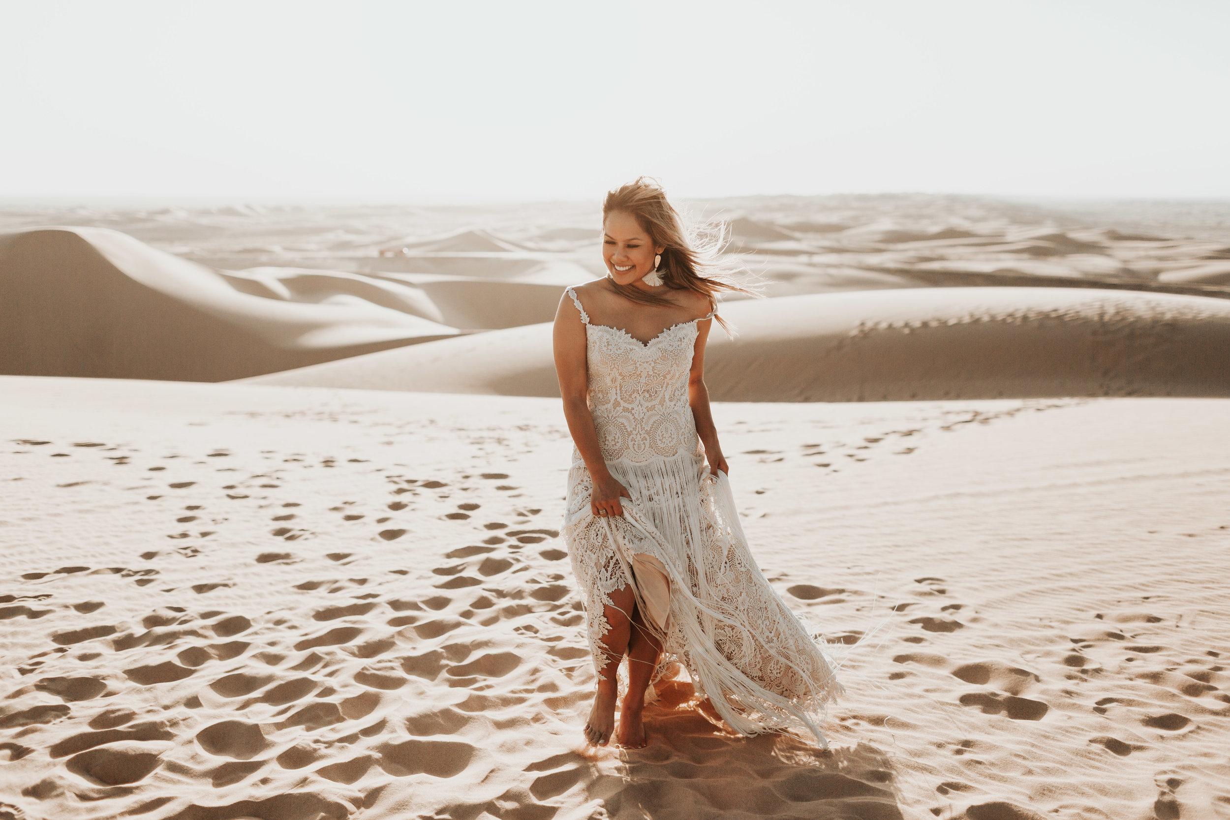 imperial sand dunes destination styled elopement bridal portrait lillian west gown