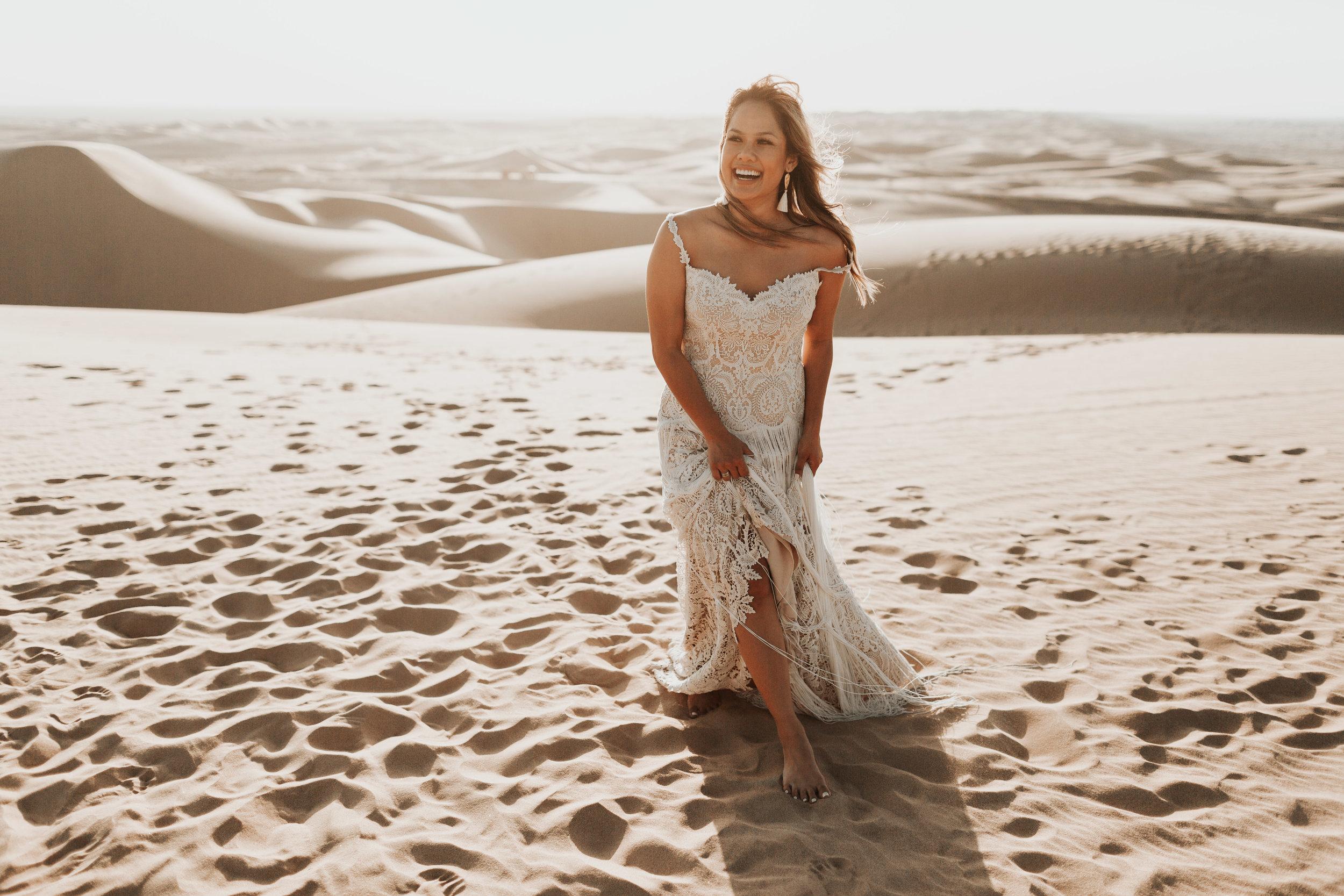 imperial sand dunes destination styled elopement bridal portrait lillian west gown fringe wedding dress editorial