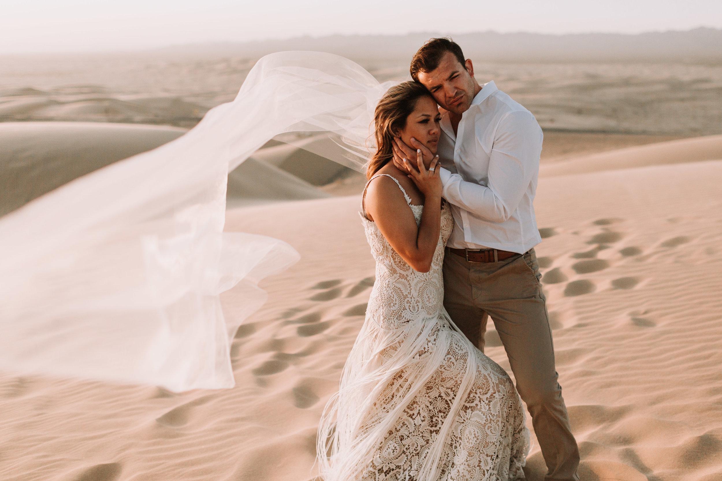imperial sand dunes destination styled elopement wedding golden hour