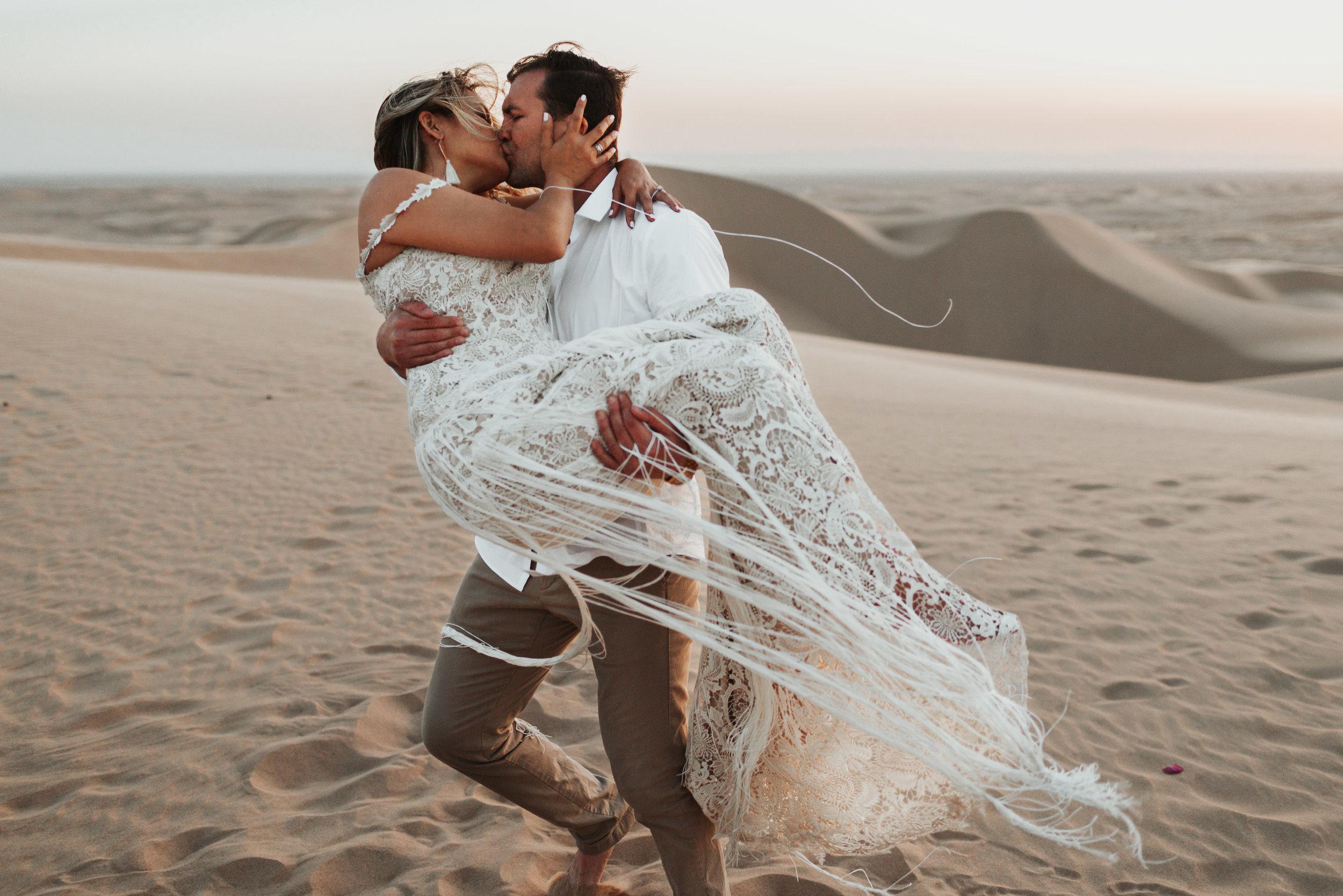 imperial sand dunes destination styled elopement wedding blue hour