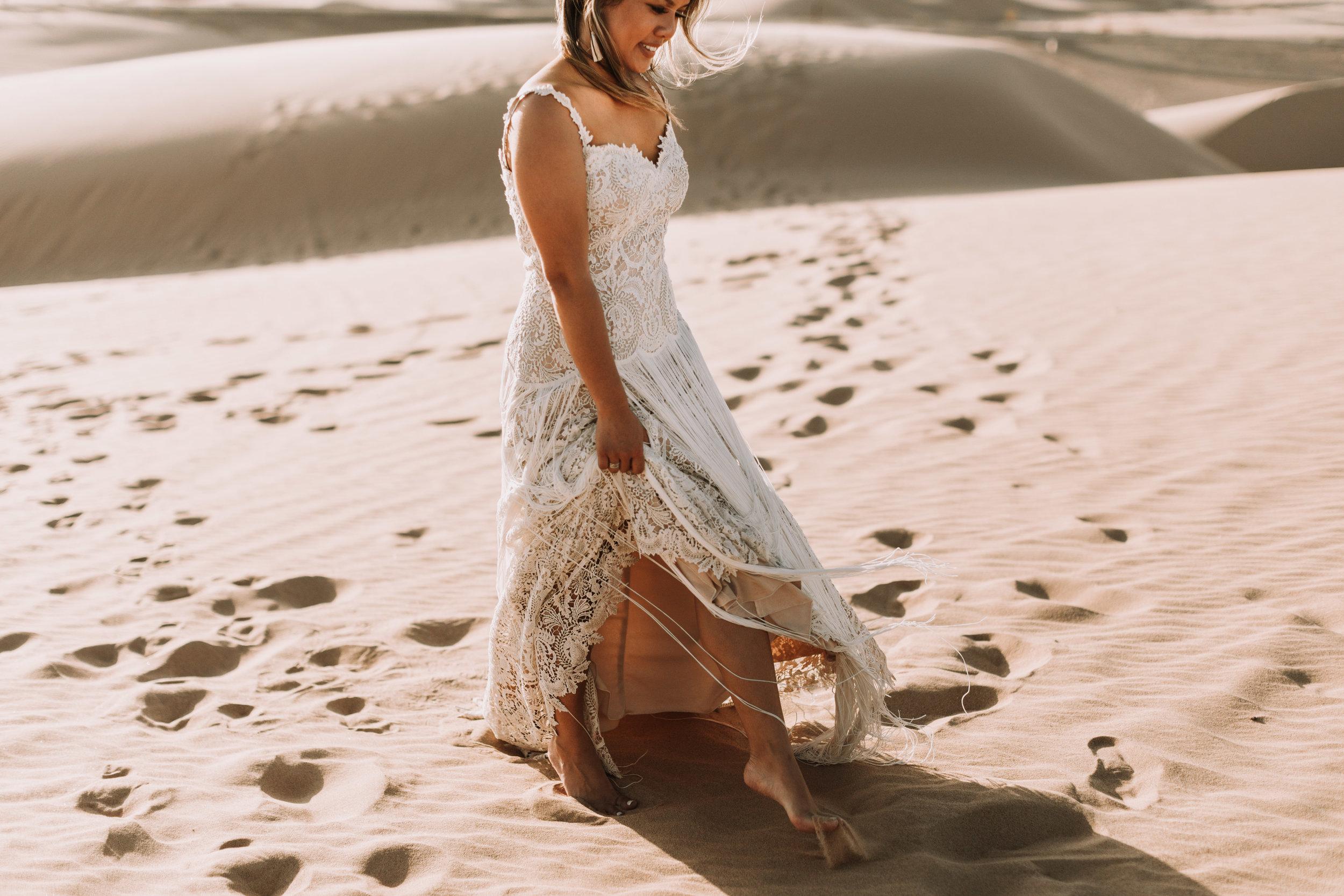 imperial sand dunes destination styled elopement wedding lillian west fringe bridal gown