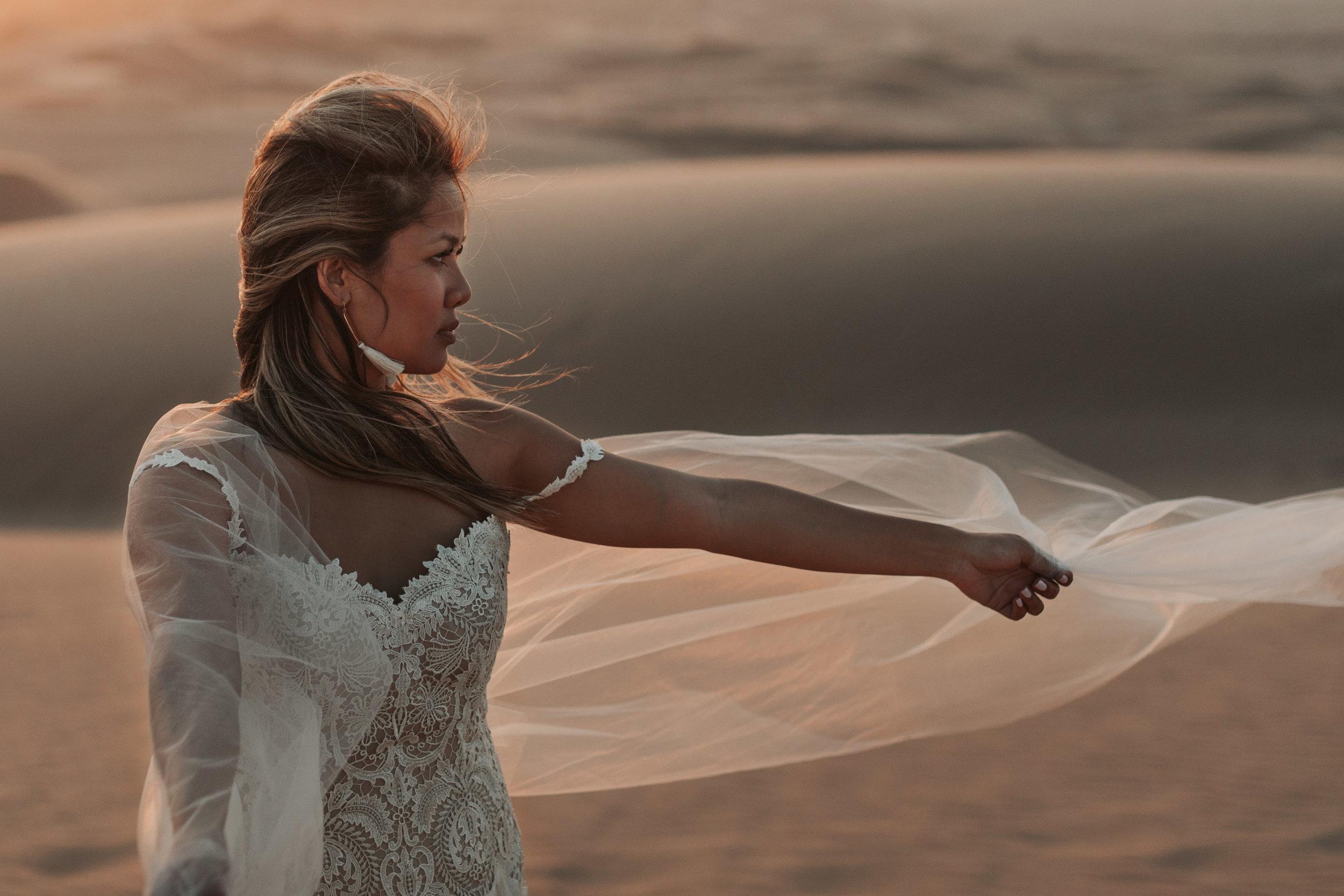 imperial sand dunes destination styled elopement wedding lillian west fringe bridal wedding dress gown
