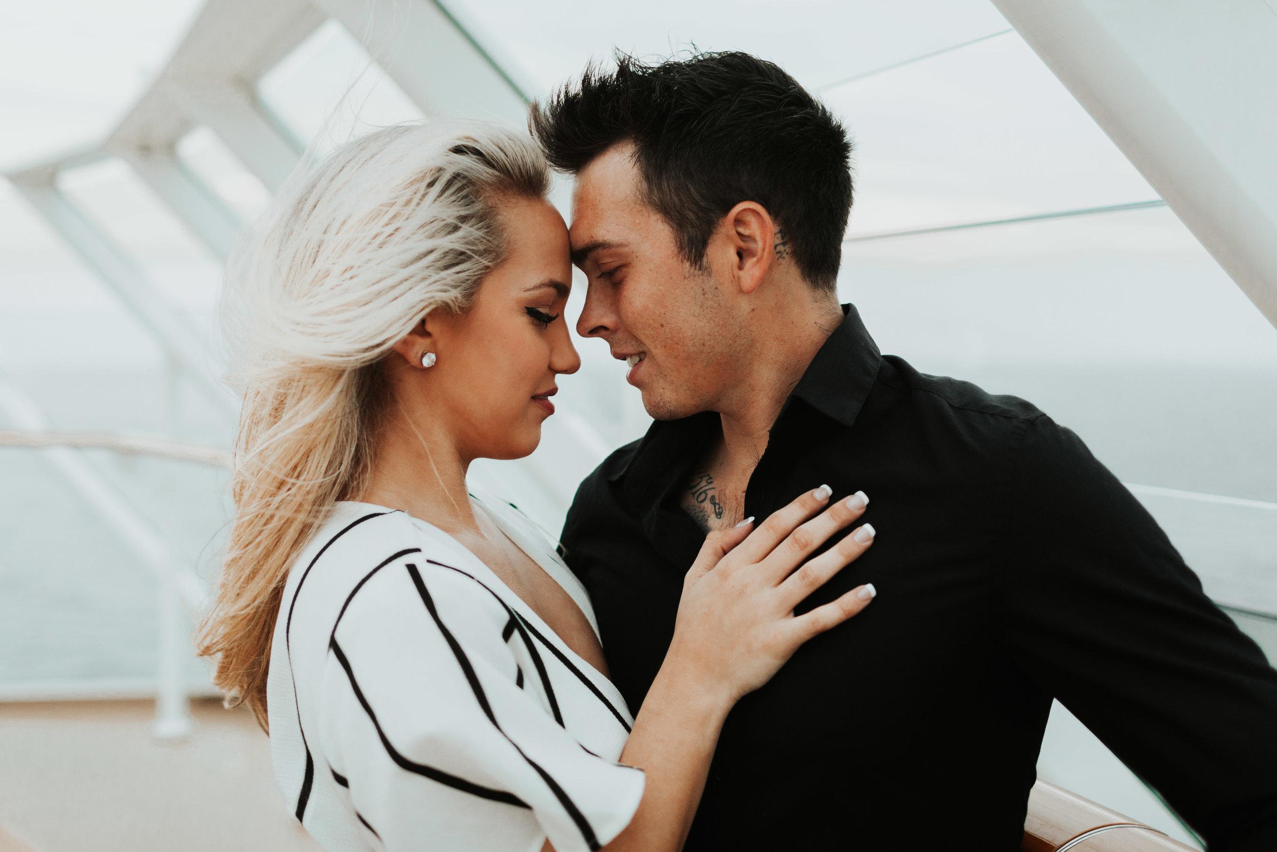 Mason and Rebecca Baltic Sea Cruise engagement photos couple session baltic sea norwegian cruise lines travel destination photographer windy