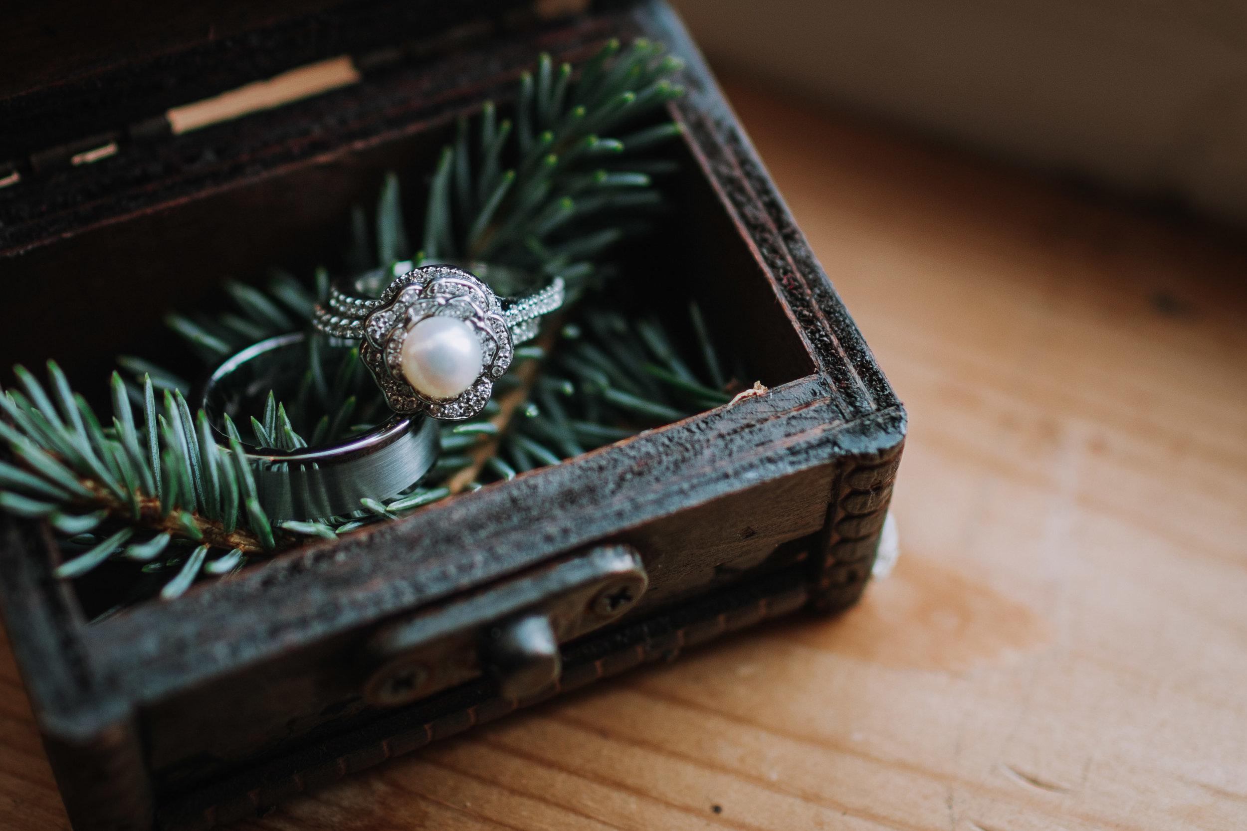 adam sophie red barn wedding arlington washington foggy day pnw ring box pearl ring