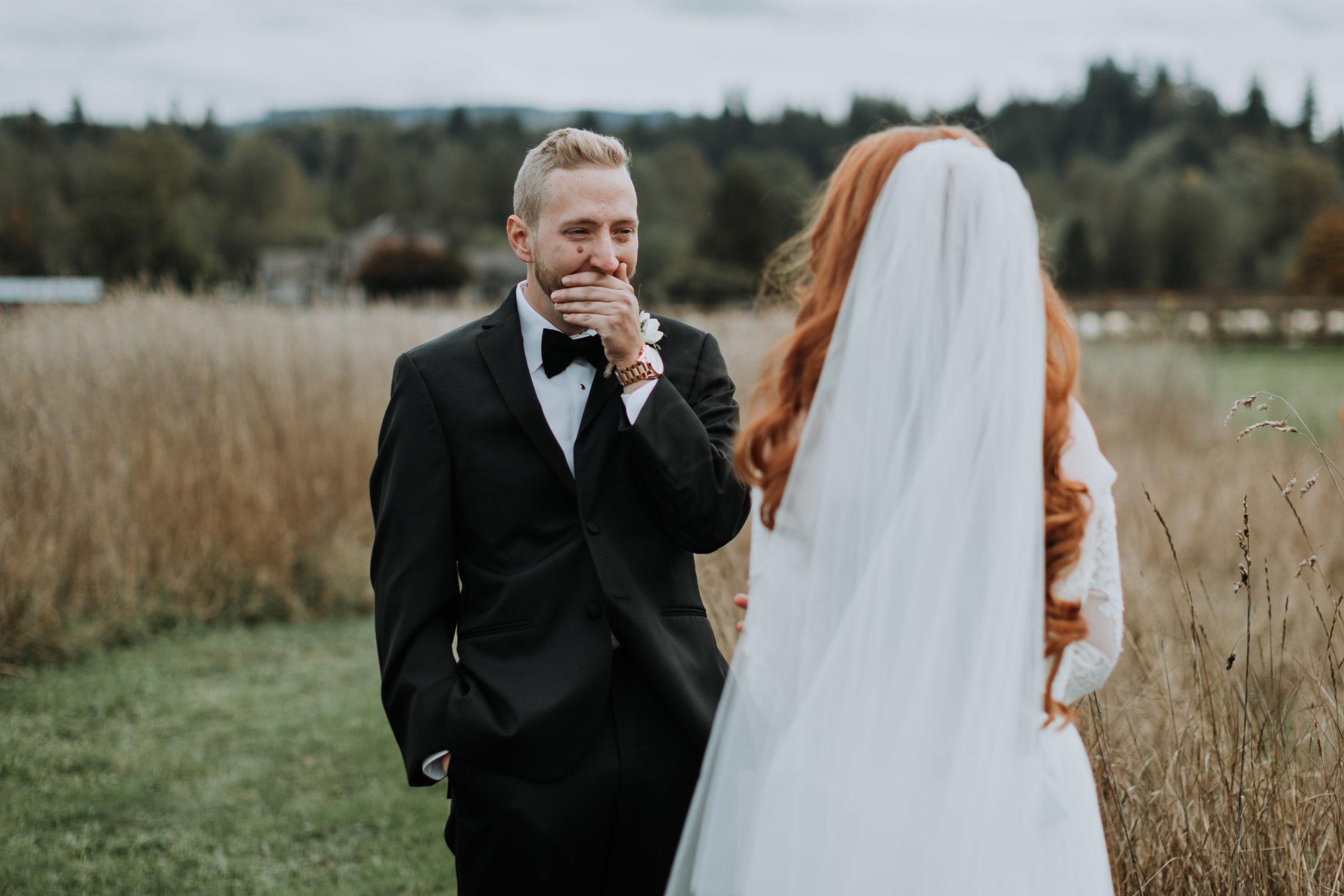 adam sophie red barn wedding arlington washington foggy day pnw first look