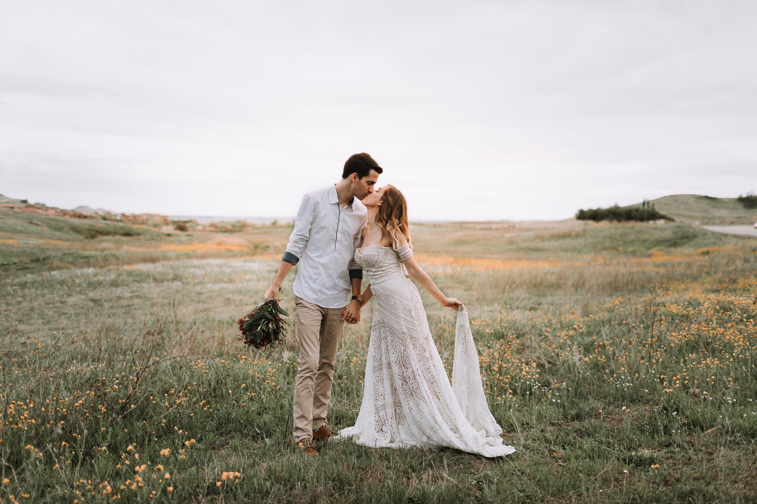 Michael and Morgan Barker Fresno Clovis Milerton Lake Grass Field Shoot Rue De Seine Ash Gown