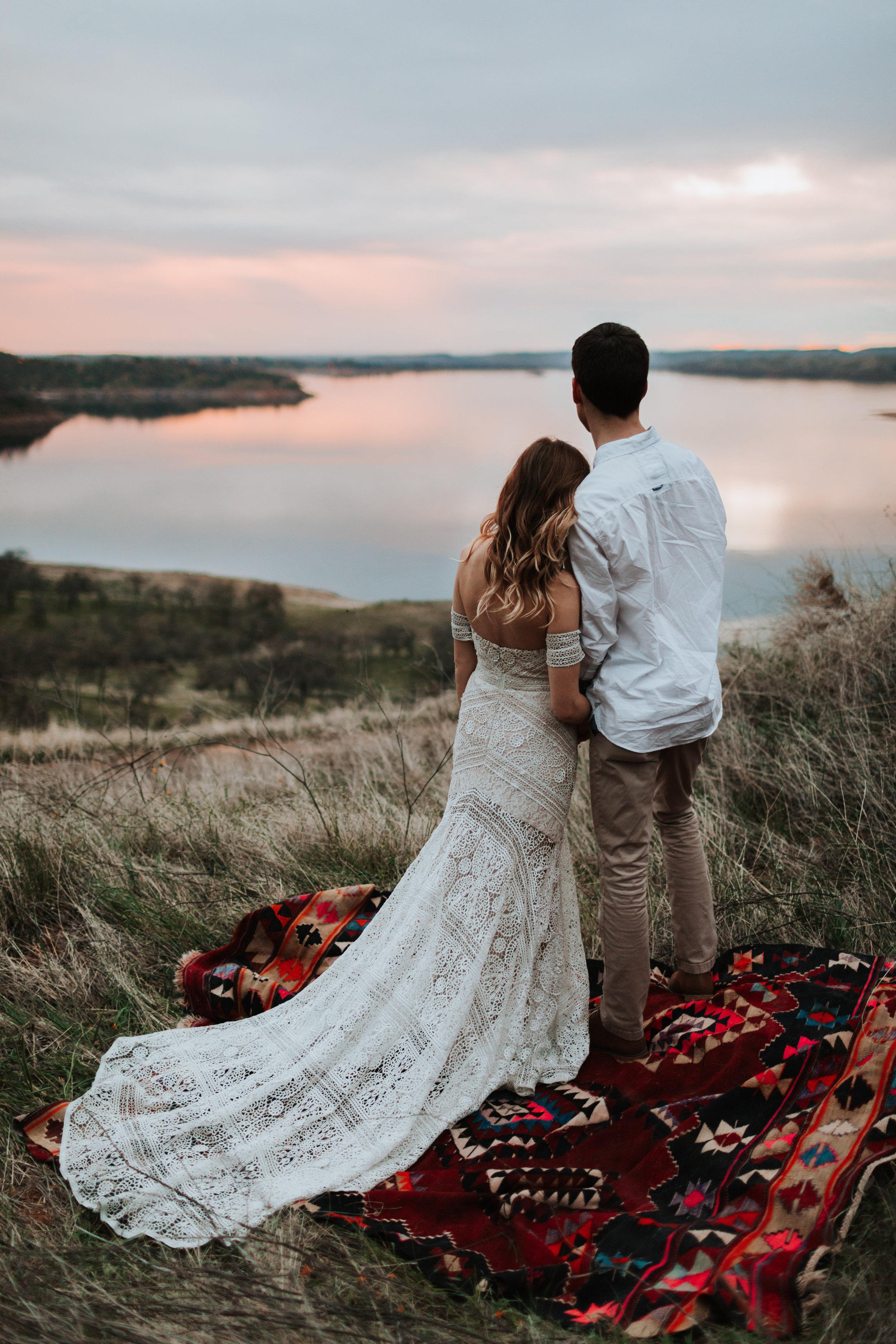 Michael and Morgan Barker Fresno Clovis Milerton Lake Grass Field Shoot Turkish Kilm Red Rug Rue De Seine Ash Gown
