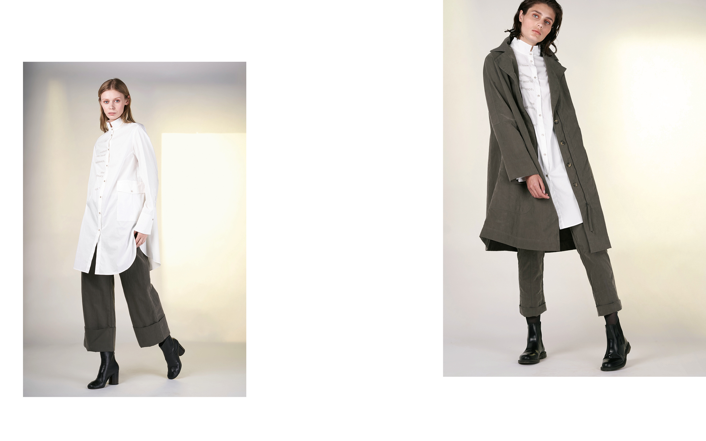 LEFT: blouse TELLY 1 27150-01 | pants DEIK 27104-03  RIGHT: coat DENIS 27104-03 | blouse TELLY 1 27150-01 | pants DENZ 27104-03