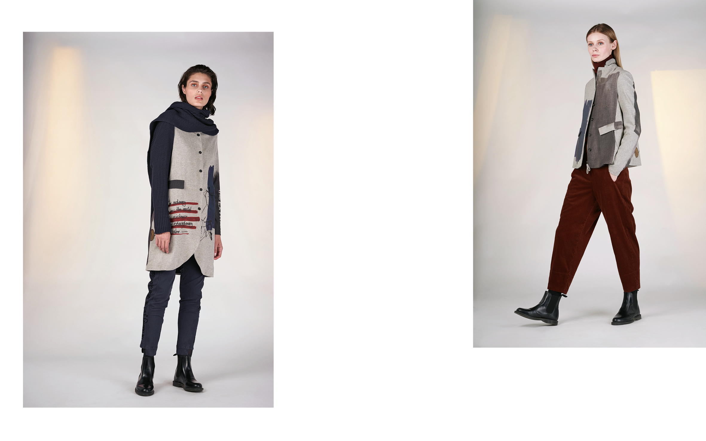 LEFT: jacket KINA 1 27113-40 | pants VEGAS 1 27160-66 | scarf SIM 27503-66  RIGHT: jacket KILIS 1 27113-40 | jumper BUCK 27500-05 | pants FER 27107-05