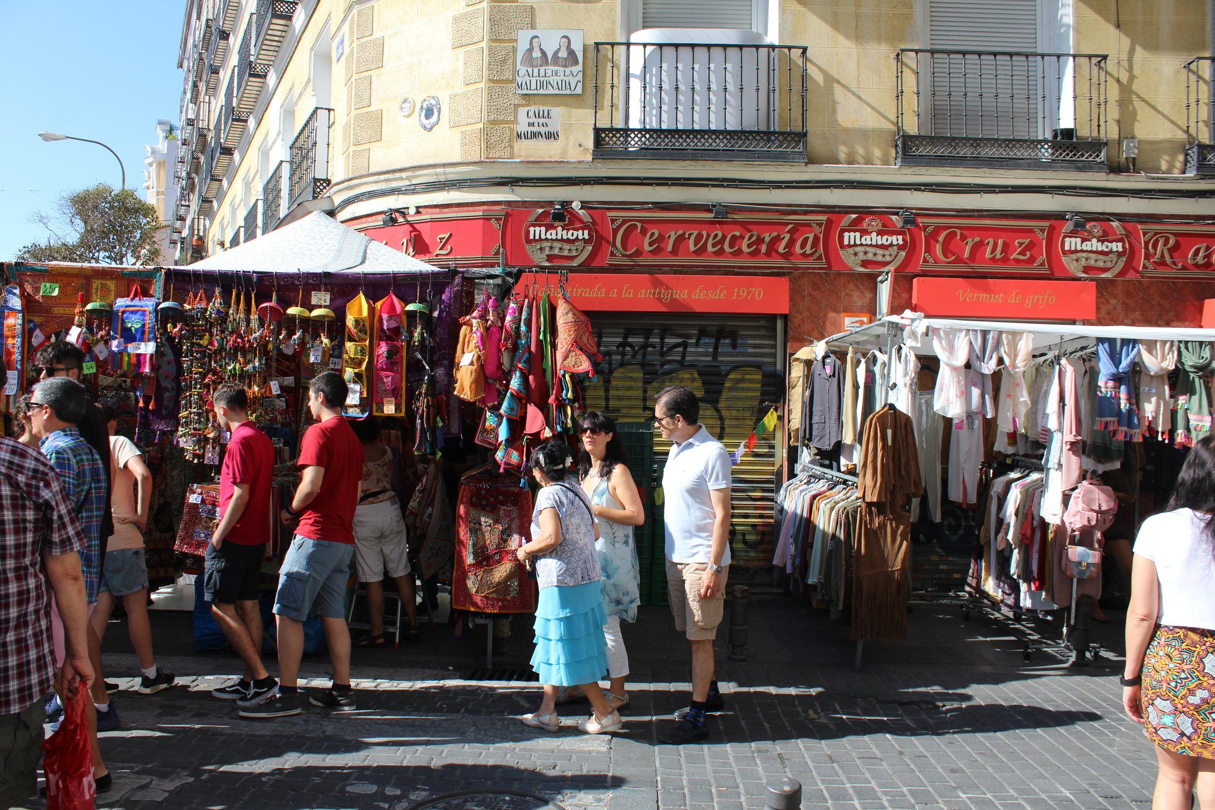 El Rastro Market held every Sunday in Madrid
