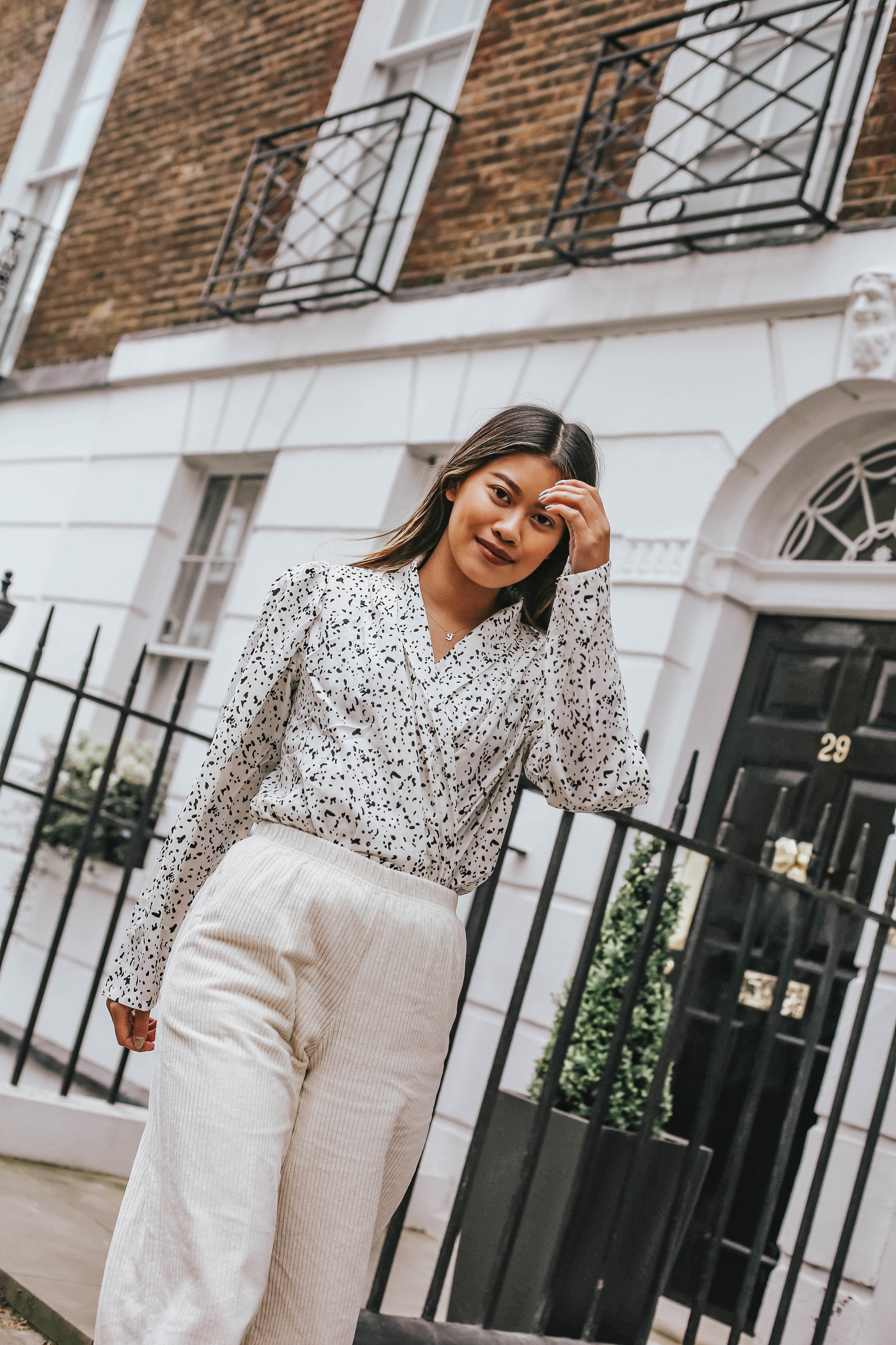 I've paired this beautiful wrapped blouse with a cord culotte trouser to add another layer of texture to make the outfit more playful -