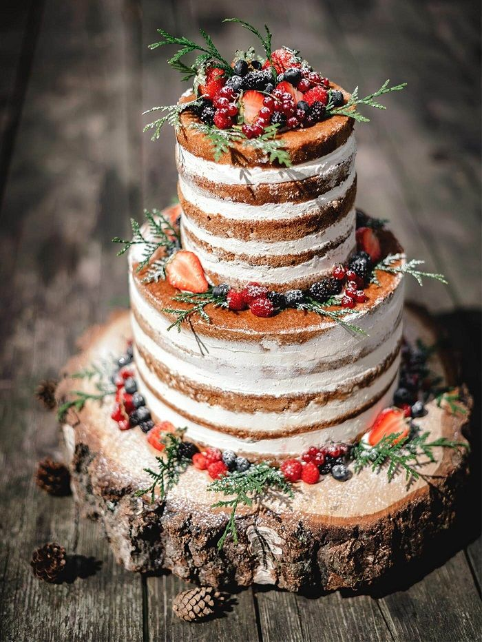 These Semi-Naked wedding cake & Naked Rustic Wedding Cakes_ But is this frosting free look right for you_ These naked rustic wedding cakes will surely.jpeg