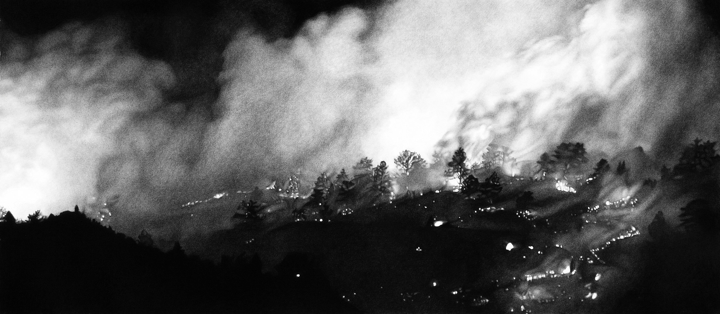 """Five Hundred Degrees Celsius,"" 16 x 33,"" charcoal on paper, SOLD"