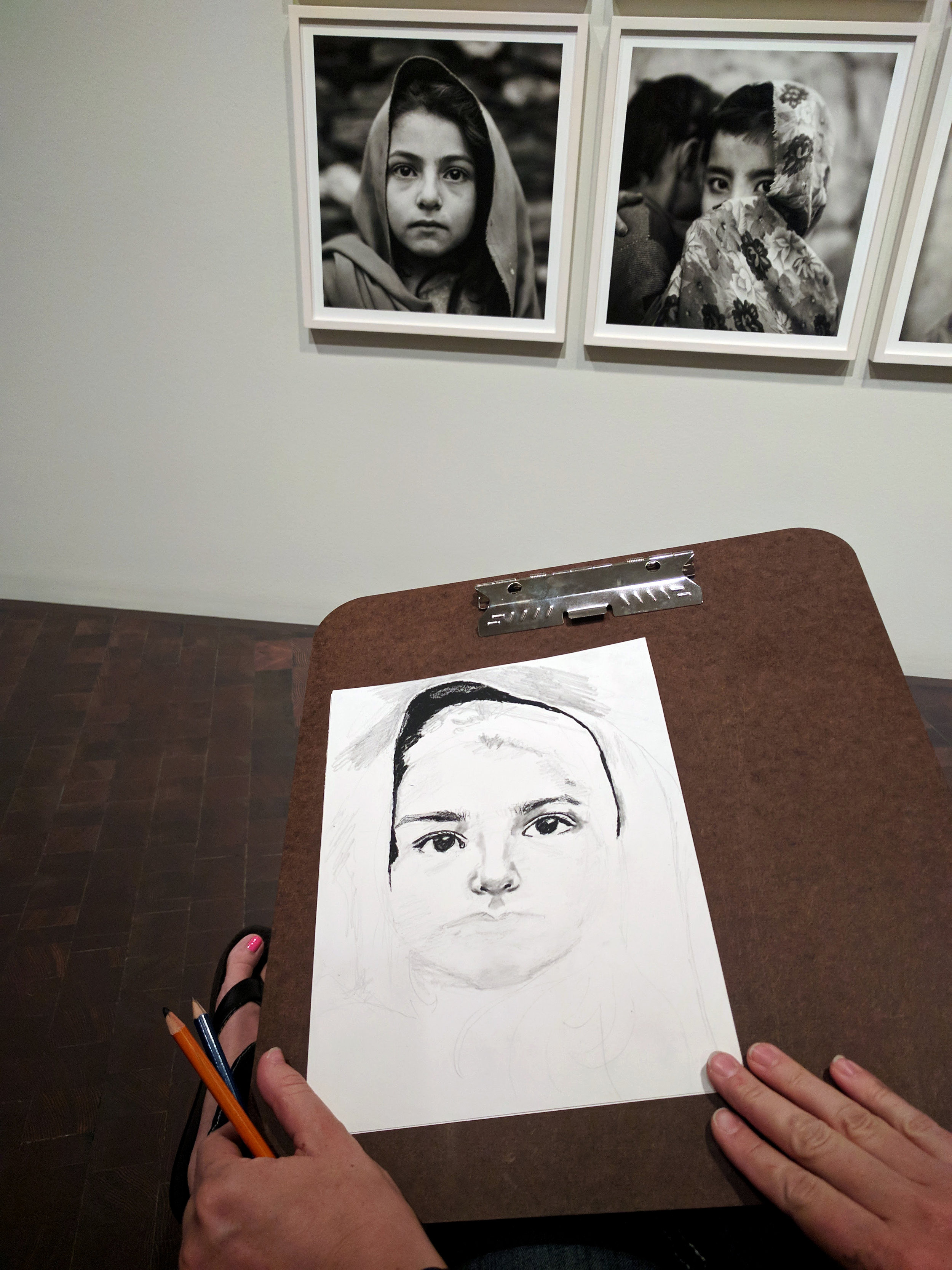In-progress charcoal drawing by Heather Newton, she finished her drawing at the end of the session and it was stunning